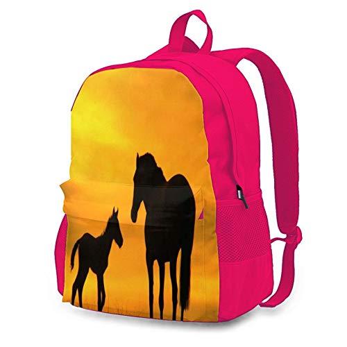 Mochila de ciclismo para madre y niño con silueta de caballo en la puesta del sol al aire libre con capacidad antirrobo para adultos, Pink (Rosa) - Pink-48