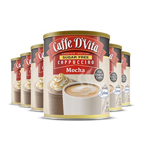 Caffe D'Vita Zuckerfreier Mokka-Cappuccino – glutenfrei, zuckerfrei, entkoffeiniert, Zero Cholesterin, Koscher-Milchprodukte, Halal – fügen Sie Ihrem Kaffee mehr hinzu – 240 ml Dose, 6 Stück