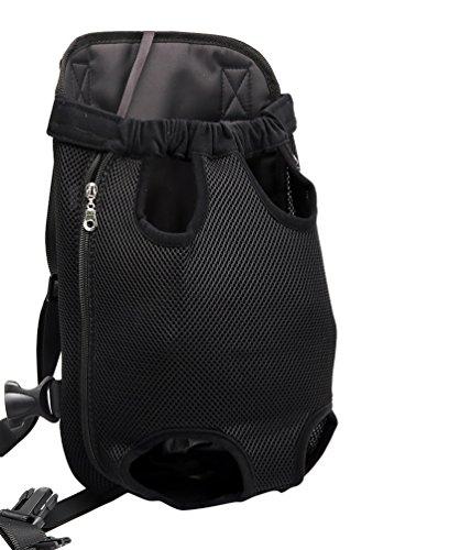 YOUJIA Masche Haustier Rucksäcke Hundetragetasche, Hund Katze Transporttasche Carrier Tasche Vorne Brust Rucksack (S, Schwarz)