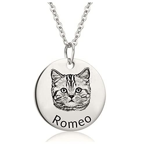 Collar personalizado para mascotas, colgante con nombre de foto de animal personalizado, collar para perro, gato, joyería para mascotas