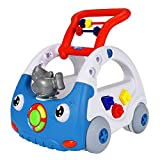 NextX First Baby Walker Push Along, Toddler Shark Toys with Music and Building Blocks, 4 IN 1