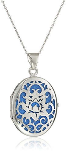 Italian Sterling Silver and Blue Lotus Flower Locket Necklace, 18