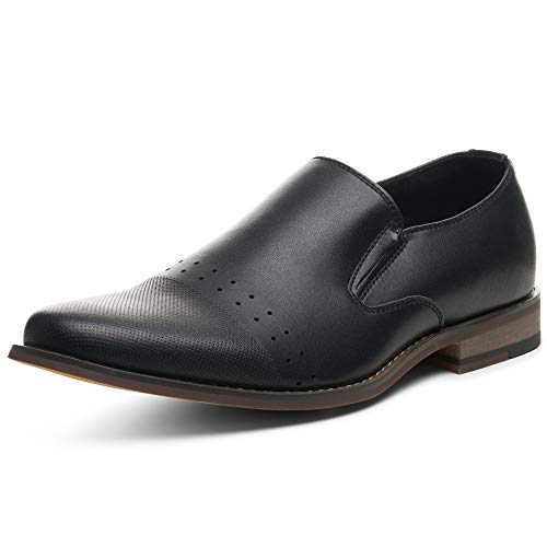 Alpine Swiss Double Diamond Mens Leather Slip-On Loafers Dress Shoes US 11 Black