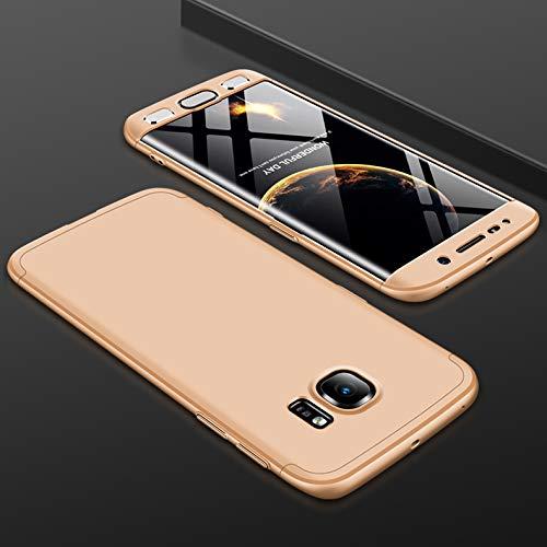 KeKeYM Hard Case für Samsung S6 Edge, 360 Grad Schutz 3 in 1 Kombination Anti-Scratch PC Ultra-dünne dünne stoßfest Case Cover für Samsung Galaxy S6 Edge - Gold