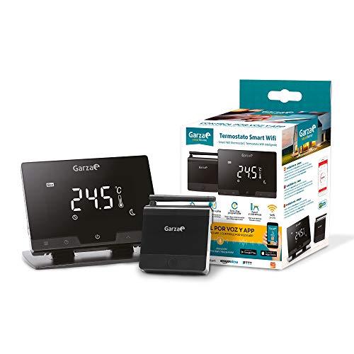Garza  Smarthome - Termostato inalambrico wifi Inteligente para caldera y calefacción, táctil y programable, portatil control remoto por App, control por voz compatible con Alexa y Google Home.
