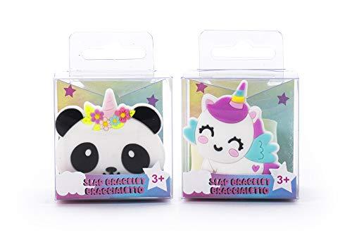 Tri-Coastal Design - Set di 2 Braccialetti a Scatto per Bambine con Divertenti Soggetti, Bracciale Slap Colorato (happy Animals)