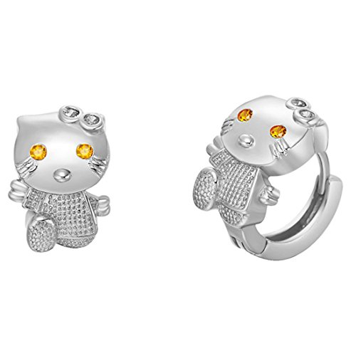 Uloveido Walking cute Hello Kitty Cat clip su orecchini a cerchio per ragazze e donne con zirconi R564