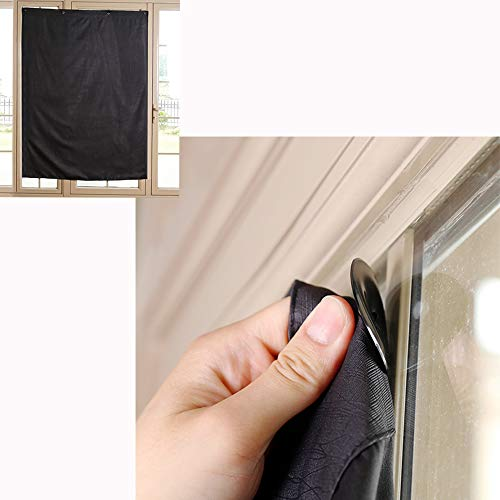 TOGRAND Temporary Portable Blinds Blackout Curtain Shade Adjustable Size with Suction Cups Provide Sleepy Environment at Home or Trip Nap Time for Baby, Kid, Day Sleeper ( Black-LINE, 52x72inch,1pc)