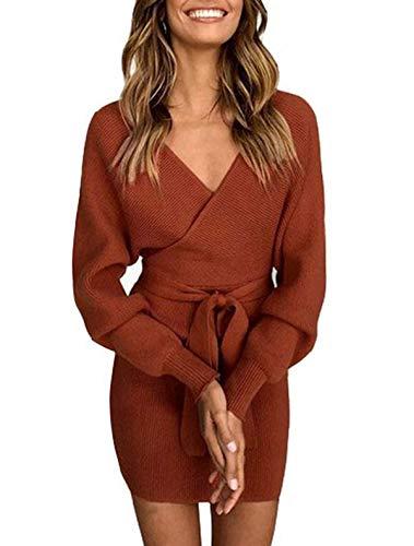 Asskdan Femme Elégant Robe Pull Tricoté Col V Croisé Manche Longue Robe Crayon avec Ceinture (Rouge, S)
