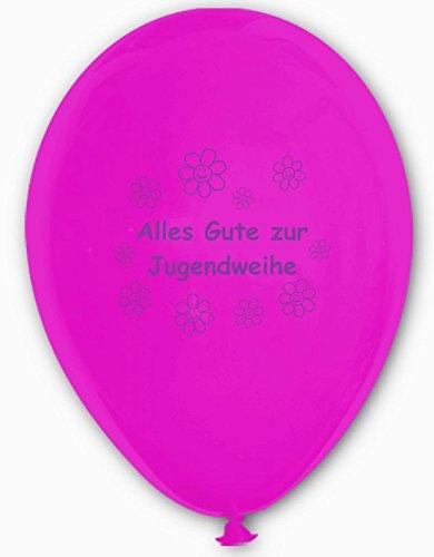 Unbekannt 10 Luftballons Alles Gute zur Jugendweihe, Fuchsia und weiß, ca. 30 cm Durchmesser
