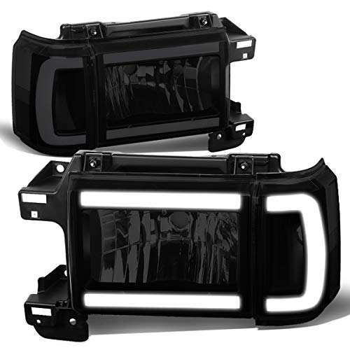 DNA MOTORING Black/Smoked/Clear HL-LB-F15087-BK-SM-CL1 Pair LED DRL Headlight Corner Lamps for 1987-1991 Ford Bronco F-150 F-250 F-350