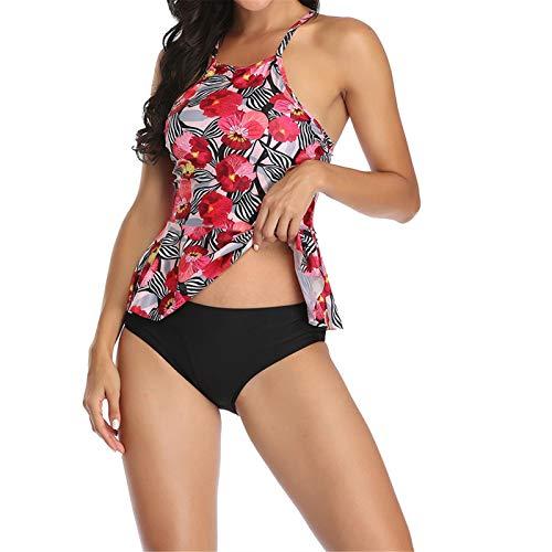 Sexy Traje de BañO BañAdor Conjunto Ropa de Playa, Mujeres de 2 piezas de 2 piezas Tankini Traje de baño Alto Cruz de cuello trasero Top de natación con pantalones cortos Conjunto de traje de natación