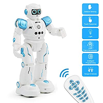 RC Robot for Kids, Intelligent Programmable Infrared Remote Control and Gesture Sensing Robots with Music Lights, Walking, Singing, Dancing, Rechargeable Gesture Science Kits/Toys for Boys and Girls
