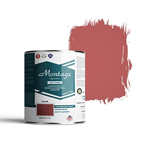 Montage Signature Interior/Exterior Eco-Friendly Paint, Brick Red - Low Sheen, 1 Gallon