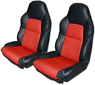 Iggee Chevy Corvette C4 Standard(Base) 1994-1996 Black/RED Artificial Leather Custom Made Original fit seat Cover