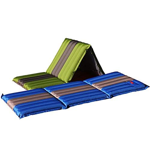 XIEZI Schlafmatten Camping Inflated Camp Matratze Faltbare Picknick-Liege Im Freien Spleißbare Isomatte Aufblasbares Kissen (Farbe: Grün, Größe: EIN Sitzplatz)