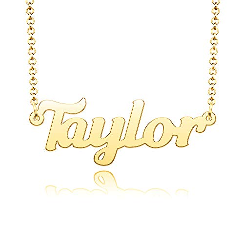 Chris Johnsons Custom Name Necklace 24K Gold Plated Personalized Name Plate Gifts for Mom, Taylor Necklace