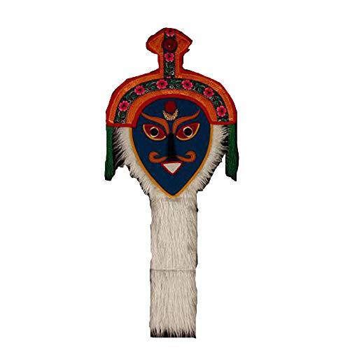 Mscara De pera Tibetana Especial Tibetana Roja Tibetana Flor De Gesang Hecha A Mano Mscara De Baile Facial Azul Color Medio