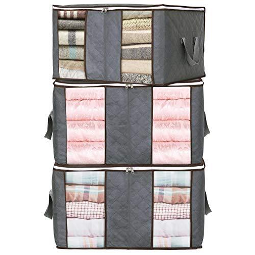 JSENGE Faltbar Aufbewahrungsboxen für Kleidung, Aufbewahrungsbox Stoff Mit Deckle, Unterbett aufbewahrung Boxen, Wird für Bettwäsche Quilts Sweaters Bettdecken, 3 Pcs (Grau 58x35x38 cm)