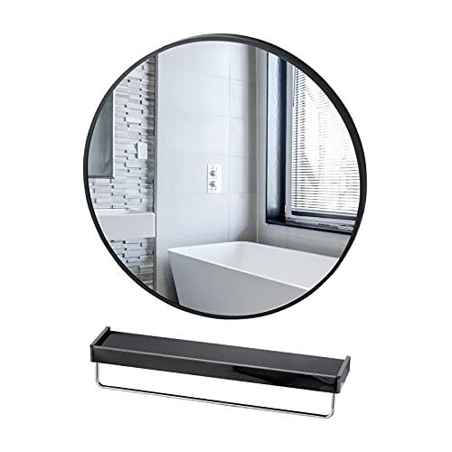 LIWEIKE Espejo Redondo Grande de 60 cm con Marco Negro para baño con Estante, Espejo de Pared Grande para entradas, baños, Salas de Estar, dormitorios, vestidores, pasillos