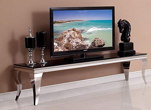 HG Royal Estates GmbH Saphir Barock TV Konsole Lowboard Schwarze Glasplatte