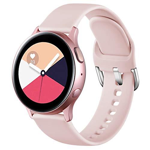 Wepro Correa Compatible con Samsung Galaxy Watch Active/Active2 40mm 44mm, Correa de Repuesto de Silicona Suave para Samsung Galaxy Watch 42mm/Watch 3 41mm/Gear Sport, Pequeño Rosa
