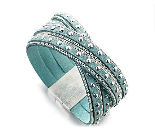 Pulsera de Cuero y Remaches decorativos para Mujeres Joviales Trading (Blue)