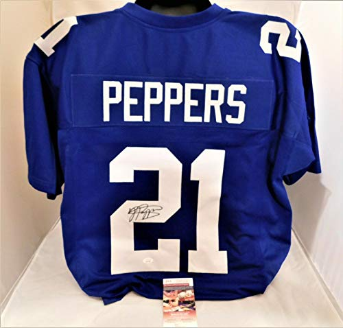JABRILL PEPPERS Signed/Autographed Blue Authentic Style Giants Jersey JSA COA