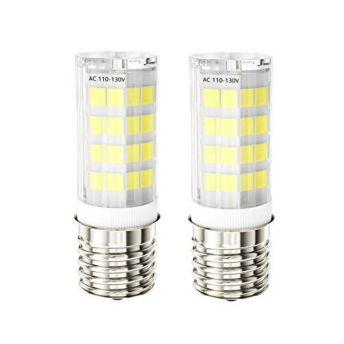 foco LED E17 para horno de microondas, equivalente a 40 W, CA 110 V-130 V, luz blanca de día (6000 K, 2 unidades), color blanco