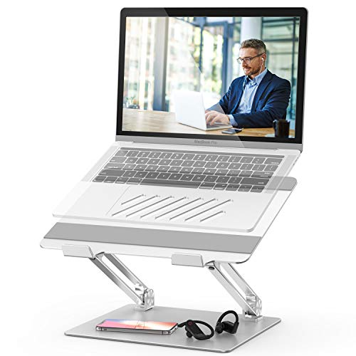 Laptop Stand, FYSMY Adjustable Aluminum Ergonomic Portable Notebook Stand Holder with Heat-Vent to Elevate Laptop, Computer Riser Compatible for MacBook,Dell,HP,Lenovo More 10-17' Laptops (Silver)