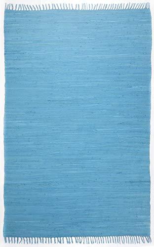 Dhurry   Fleckerl   Flachgewebe-Teppich aus 100% Baumwolle; handgewebt, waschbar, beidseitig verwendbar   40 x 60 cm; Türkis   Happy Cotton