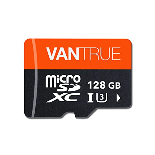 Vantrue 128GB U3 microSDXC UHS-I 4K UHD Video Monitoring Memory Card with Adapter for Dash Cams, Body Cams, Action Camera, Other Surveillance & Security Cams