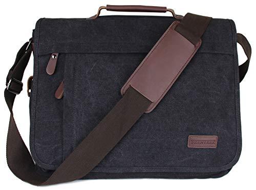 Frentree Umhängetasche praktische Allrounder Laptoptasche bis 15.6 Zoll Laptops Notebook Canvas Tasche
