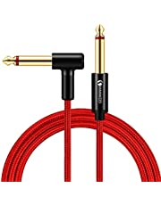 LinkinPerk Guitar Cable 6.35mm TS Mono Instrument Performance Cord 1/4 Straight to Right Angle Jack for Guitar, Bass, Keyboard (1M)
