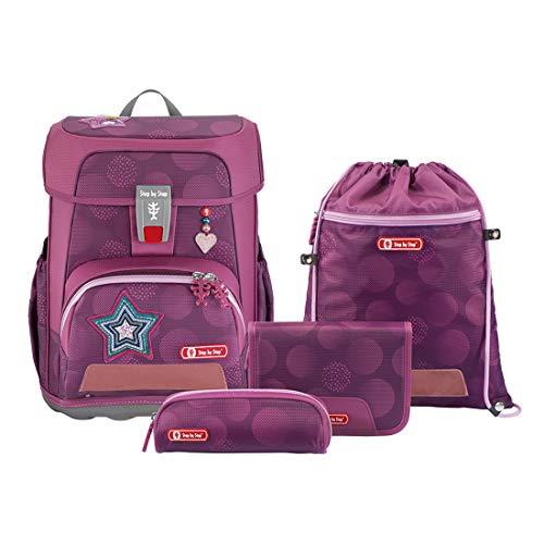 """Step by Step Schulranzen-Set Cloud """"Glamour Star"""" 5-teilig, lila-pink, Star-Design, ergonomischer Tornister mit Reflektoren, höhenverstellbar mit Hüftgurt für Mädchen ab der 1. Klasse, 19L"""