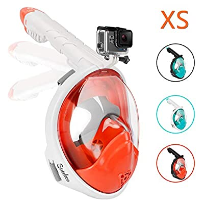 Gpeng Sunhoo Full Face Snorkel Mask, Foldable Snorkeling Mask with Detachable Camera Mount, 180¡ã Panoramic View Diving Mask Dry Top Set Anti-Fog Anti-Leak for Adults and Kid (OrangeWhite,Kids)