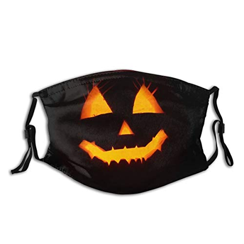 Minalo Face Cover Halloween Smile Spooky Evil Trick Or Treat Pumpkin Lanterns Jack-o-Lantern Balaclava Unisex Reusable Mouth Bandanas Outdoor Camping Motorcycle Running Neck Gaiter with 2 Filters