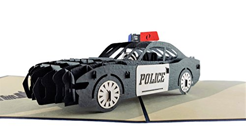 iGifts And Cards Police Car 3D Pop Up Greeting Card - Protect, Serve, Cruiser, Awesome, Wow, Half-Fold, Happy Birthday, Retirement, Congratulations, Police Academy Graduation, Thank You, Cop Promotion