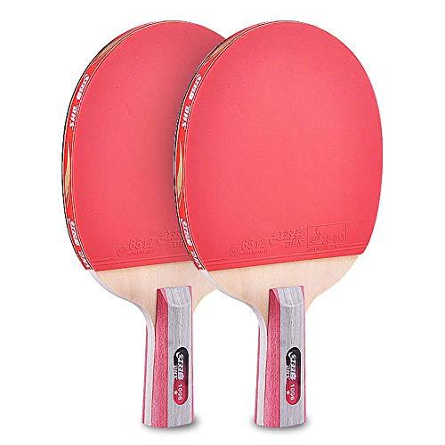 Lerten Palas de Ping Pong,Bate de Tenis de Mesa Raqueta de Alta Elasticidad Ligera Profesional Mango CóModo para Jugar en Interiores Y Exteriores / 1 star/A