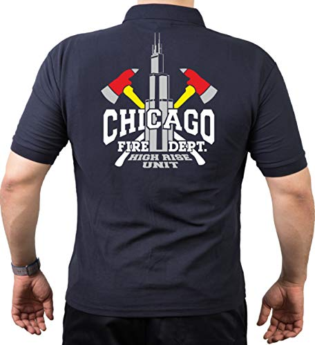 FEUER1 Polo Navy, Chicago Fire Dept. High Rise Unit/Äxte/Willis Tower (Silver Edition) M