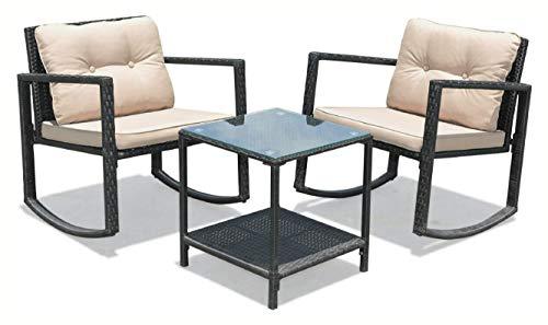 HomyDelight Rocking Chair, 3 Pcs Patio Rattan Set Rocking Chair Cushioned Sofa Garden Furniture, Beige