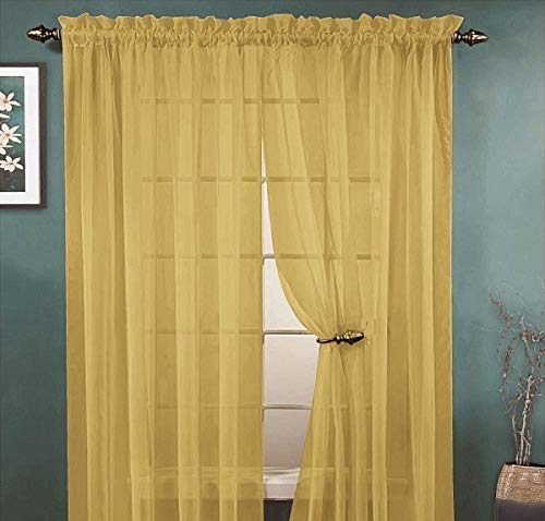 YHSF Elegant Rod Pocket Sheer Voile Window Curtain Panels for Bedroom and Living Room Dining Room Patio Sliding Glass Door 84 inches Long, Set of 2 (Gold)