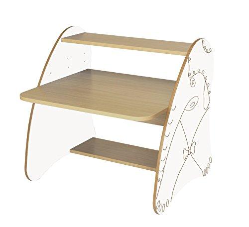 Mobeduc 600912HR23 Table Ordinateur Enfant/Primaire Bois hêtre/Blanc 80 x 80 x 75 cm