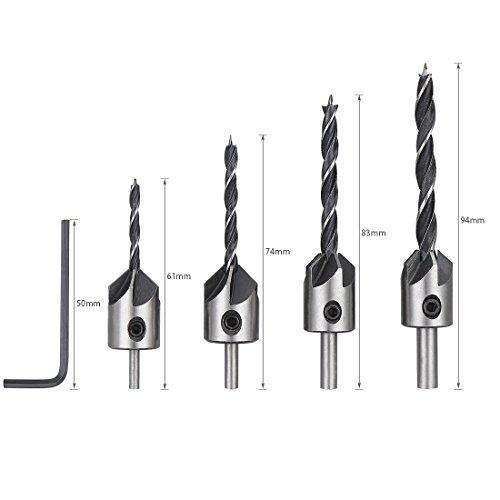 Svasatore Drill Bit, Lavorazione Del Legno Drill Bit Set Carpenteria Alesatore Lunghezza Regolabile Drill Bit Pezzi (3/4/5/6Mm) Con 1Hex Shank