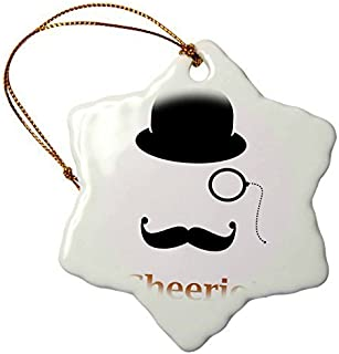 pansy Christmas Craft Tree Decorations Top Hat Monocle With A Mustache And The Word Cheerio Snowflake Christmas Ornament Porcelain Present