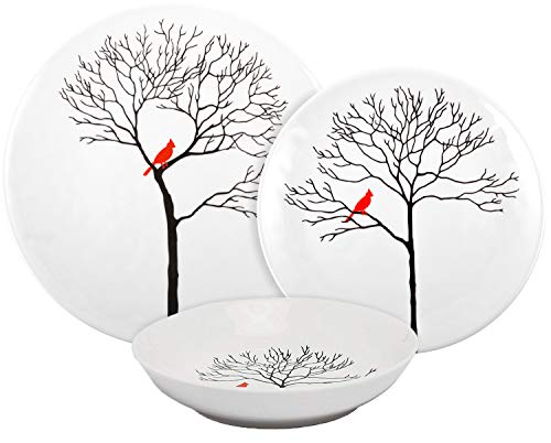 Melange Coupe 18-Piece Porcelain Dinnerware Set | Birds in Forest Collection | Service for 6 | Microwave, Dishwasher & Oven Safe | Dinner Plate, Salad Plate & Soup Bowl (6 Each) (Best Porcelain In The World)