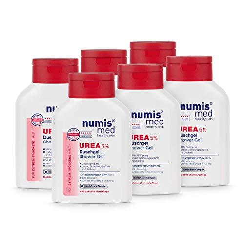 numis med Duschgel mit 5% Urea - Hautberuhigendes Duschgel für extrem trockene, zu Juckreiz neigende Haut - vegane Hautpflege ohne Silikone, Parabene & Mineralöl - Showergel 6er Pack (6x 200 ml)