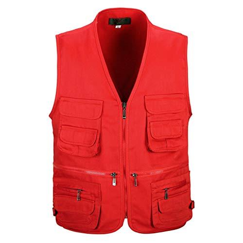 JDLAX Chaleco de Mediana Edad y Anciano Ropa de Trabajo Multi-Bolsillo para Hombre Chalecos de Seguros de Trabajo de Trabajo Lienzo de algodón de poliéster Red-XL
