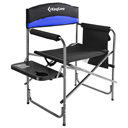 KingCamp Heavy Duty Camping Folding Director Chair Oversize Padded Seat with Side Table and Side Pockets, Supports 396 lbs (Black/Royal Blue)