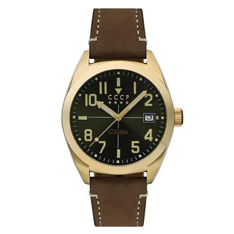CCCP Gromov CP-7050-04 - Reloj mecánico automático de 3 manos con esfera verde y correa de piel auténtica marrón